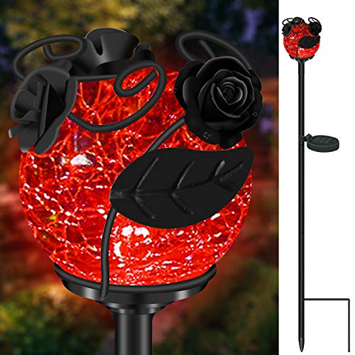 Garden Solar Powdered Lights Outdoor, VUV Metal LED Stake Lights Crackle Glass Waterproof Pathway Lights with 7 Auto Changing Colors for Landscape Patio Yard Holiday Decoration (Rose)) -