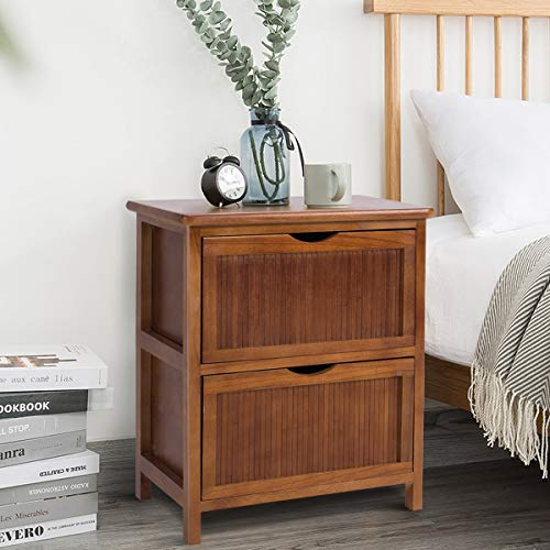 Giantex Nightstand Wood W/2 Drawers Sofa Bed Beside Table Contemporary Vintage for Bedroom Living Room Cabinet End Table 16.0''X11.5''X20.5''(L x W x H) (1)