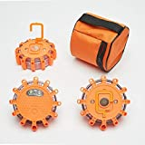 3pcs Amber Road Flares Emergency Light, Flashing Warning Light Powered by Battery, for Car, Marine and Outdoor Sports W/Bag, Magnetic Base, Hook