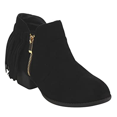 EC90 Women's Back Fringe Trim V Cut Chunky Stacked Ankle Booties