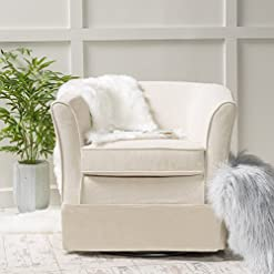 Living Room Christopher Knight Home Cecilia Swivel Chair with Loose Cover, Natural Fabric