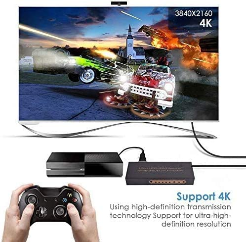 HDMI Switch 4K HDCP 2.2 Dolby Remote Control with Infrared for Fire Stick TV PS3 // PS4 REEXBON HDMI Switcher Splitter 5 in 1 Out 4K @ 60Hz // 3D // Full HD Xbox 360 Blu-Ray