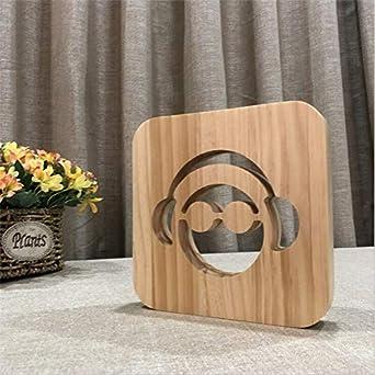 2 Pack, 3D Led Lámpara De Madera Dj Auriculares Lámpara De Ilusión Monitor De Estudio Auriculares Hifi Música Auriculares Fiesta Decorativa Raper Regalos: Amazon.es: Iluminación