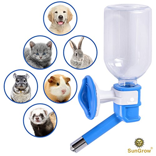 No Drip Pet Water Dispenser Bottle - Leak Proof, Rust Proof, BPA Free, with Stainless Steel Pipe - Keep Puppies, Cats, Bunnies and Other Small Animals hydrated: Easy to Install (Blue)
