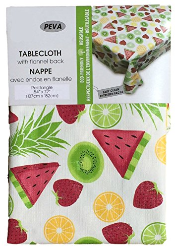 Fruit Tablecloth - Text Deco PEVA Flannel Backed Tablecloth For Indoor and Outdoor, Performs Like Vinyl, NO Chlorine, NO PVC, Eco Friendly, Reusable, (Fruits, 60 x 84)
