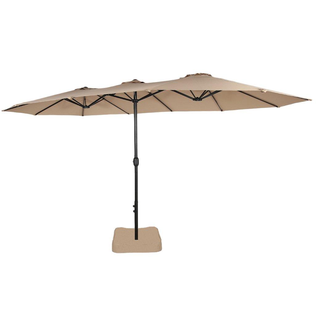 Iwicker 15 Ft Double-Sided Patio Umbrella Outdoor Market Umbrella with Crank, Umbrella Base Included (Beige)