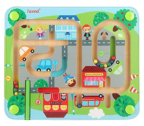 (iwood Magnet Maze-Town Traffic-Wooden Puzzles Magnetic Games Magnet Maze Wooden Toy for Kids Educational Toy for Boys Girls Toddlers 2 Years+ )