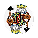 iPrint Polyester Round Tablecloth,King,King of Clubs Playing Gambling Poker Card Game Leisure Theme without Frame Artwork,Multicolor,Dining Room Kitchen Picnic Table Cloth Cover,for Outdoor Indoor