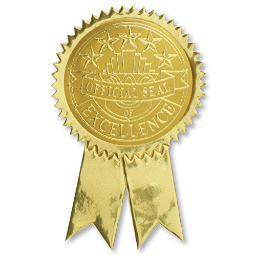 Official Excellence Embossed Gold Foil Ribbon Certificate Seals, 2 Inch, Self Adhesive, 102 ()