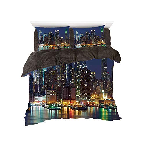 Flannel Duvet Cover Set 4-Piece Suit Warm Bedding Sets Quilt Cover for Bed Width 5ft Pattern by,New York,NYC Midtown Skyline in Evening Skyscrapers Amazing Metropolis City States Photo,Royal Blue -