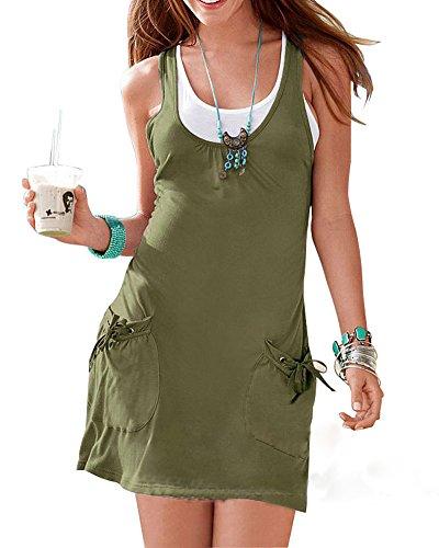 Mujeres Casual Verano Vestido De Playa Con Vestido Ejercito Verde