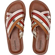Ataiwee Womens Slide Sandals - Flip Flops Cozy Cute Braided Strappy Non-Slip Thong Flat Summer Shoes. (Colourful2 8051, Numeric_9)
