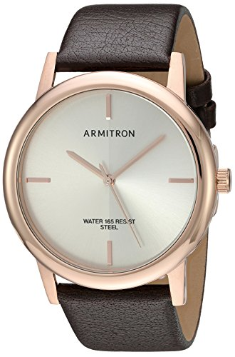 Armitron-Mens-205140SVRGBN-Rose-Gold-Tone-and-Brown-Leather-Strap-Watch