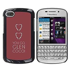 """For BlackBerry Q10 Case , Te quiero ir Corazón Glen marrón minimalista"""" - Diseño Patrón Teléfono Caso Cubierta Case Bumper Duro Protección Case Cover Funda"""