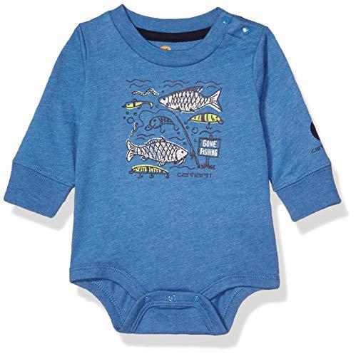 Carhartt Baby Boys Long Sleeve Bodyshirt, Medium Blue, 24M