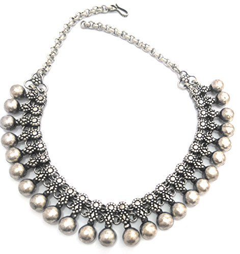 Women Oxidized Silver Metal beads Round Indian Necklace Choker Jewelry ()