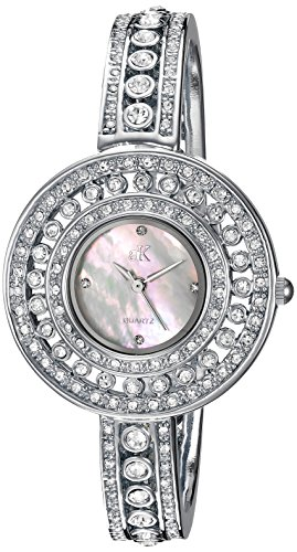 Adee Kaye Women's Quartz Brass Dress Watch, Color:Silver-Toned (Model: AK9116-L)
