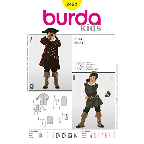 Burda Sewing pattern, 2452, Burda Style, Pirate costume,