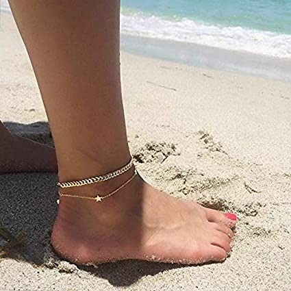 a85c0659deef Amazon.com  Hemau Women Sexy Crystal Anklet Ankle Bracelet Barefoot Sandal  Beach Foot Jewelry Gift
