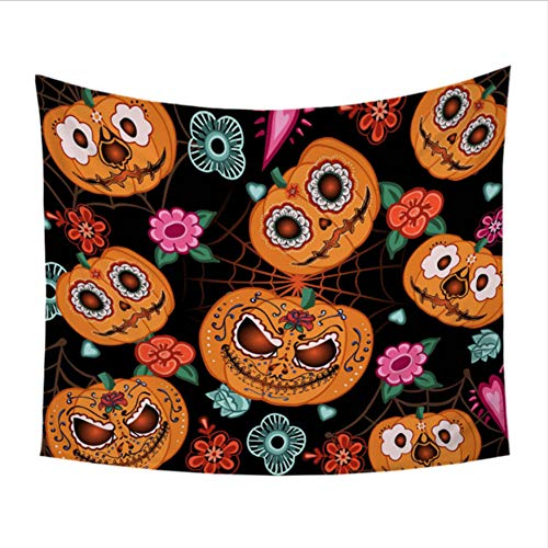GUDOJK Bedding Pumpkin Tapestry Room Decor Wall Hanging Halloween Nightmare Wall Carpet Tapisserie 1.5x1.3m -