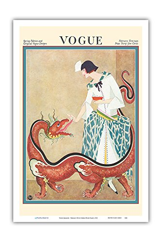 Fashion Magazine - February 1923 - Woman Feeding a Chinese Dragon - Vintage Magazine Cover by George Wolfe Plank c.1923 - Master Art Print 12in x 18in