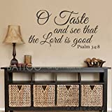 "BATTOO O Taste and See the Lord is Good Bible Wall Art Vinyl Decal Psalm Faith(Black, 52""WX28.5""H)"