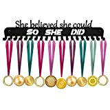 Medal Holder, Medals Display Hanger Rack with Hooks for 40+ Medals, Ribbons Display, Sports Medal Hanger, Premium Pure Steel, Race Medal Holder,16'' Wide Awards Metal Rack (Matte Black)
