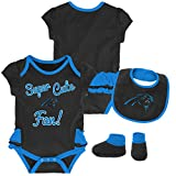 Outerstuff NFL NFL Carolina Panthers Newborn & Infant Mini Trifecta Bodysuit, Bib, and Bootie Set Black, 3-6 Months