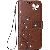 Galaxy Note 9 Handmade Case,Aulzaju Samsung Note 9 Luxury 3D Bling Rhinestone Soft Slim Flip Stand Wallet Cover for Note 9 Flower Butterfly PU Leather Diamond Case for Girls Women-Brown