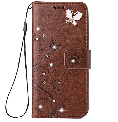 Auroralove iPhone 8 Plus Luxury Handmade Bling Rhinestone Soft Slim Flip Stand Wallet Case for iPhone 8 Plus Flower Butterfly PU Leather Case for Girls Women (iphone 8 plus, - Soft Kid Leather