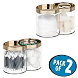 mDesign Divided Bathroom Vanity Countertop Canister Jar with Recessed Storage Lid - Stackable - Double Compartment Organizer for Cotton Balls, Beauty Blenders, Bath Salts - Pack of 2, Clear/Soft Brass