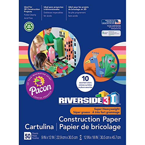Riverside 3D Construction Paper, 10 Assorted Colors, 9