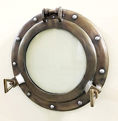 (Antique 11 inches Canal Boat Porthole-Window Ship Round Glass Wall Decor Frame)