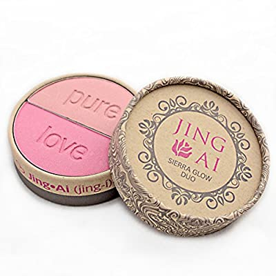 Makeup Set Kabuki Brush & Blush - By Jing Ai - Two Shades Light, Medium Or Dark For Any Complexion. Rich In Vitamins A & E. Paraben, Gluten, & Cruelty Free Vegan Formula Very Nourishing For Your Skin