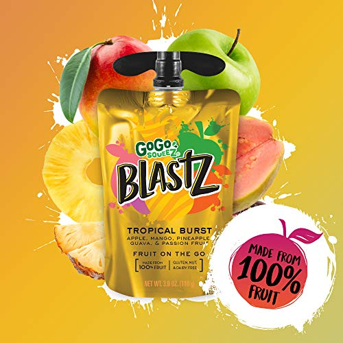 GoGo squeeZ BlastZ Fruit Pouches on the Go, Tropical Burst, 3.88 Ounce (4 Pouches), Gluten Free, Vegan Friendly, Unsweetened, Recloseable, BPA Free Pouches  (Packaging May Vary)