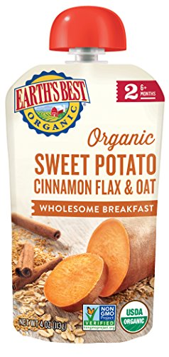 Earth's Best Organic Stage 2, Sweet Potato & Cinnamon Breakfast, 4 Ounce Pouch (Pack of 12) (Packaging May Vary)