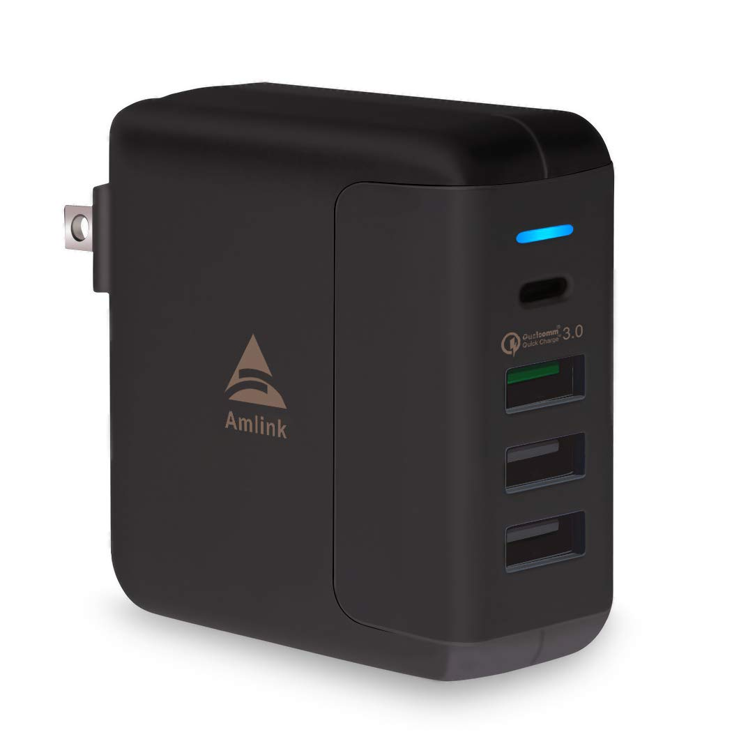 AMLINK Quick Charge 3.0 USB Wall Charger, 40W 4-Port USB Type-C Adapter PowerPort Speed 4 Charging Station for Home and Travel by AMLINK
