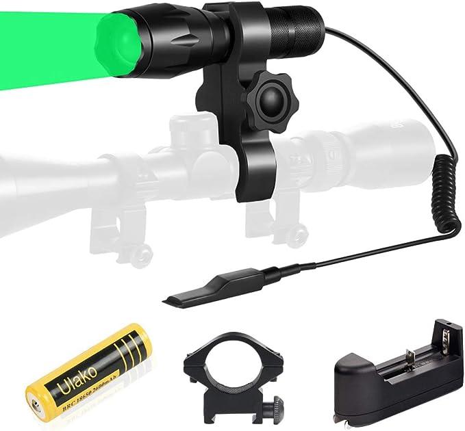 Ulako Green Light 300 Yards Spotlight Flood Light Zoomable Tactical Hunting Flashlight Torch - Best Mountable Hunting Light
