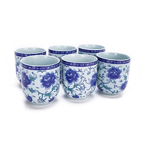 (Set Of 6 Eastern Asian Design Ceramic Tea Cups In Blue-And-White Peony - 8 OZ Capacity)