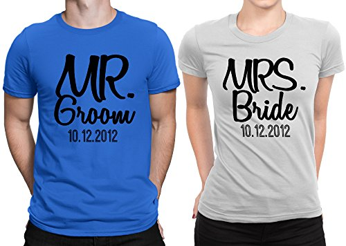 Mr Groom Mrs Bride Newly Married Couple Matching T-shirt Honeymoon valentines day Men Small / Women Medium | Royal Blue - White