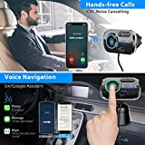 Tecboss Bluetooth FM Transmitter for Car, Bluetooth 5.0 Wireless Car Radio Adapter with QC3.0 & 5V/2.4A Dual Charging Port, Easy Attached to Air Vent, Better Hands Free Car Kit, Music Player - TB27