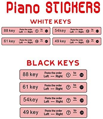 ZaPoms 2 Pack Piano Stickers Piano Keyboard Stickers for 88//61//54//49//37//32 Key Colorful Learning Piano Stickers for White and Black Keys with Mounting Stick