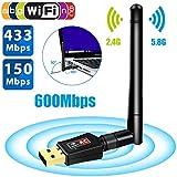 600Mbps 802.11AC dual band high speed Wireless USB WiFi Adapter (5.8GHz & 2.4GHz) dual band wireless usb adapter for Windows XP, Vista, 7, 8, 10 & Mac OS X & Linux Ubuntu