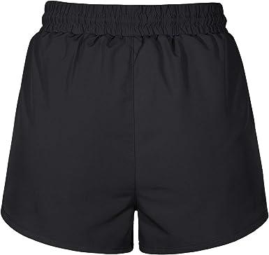 BLEVONH Women Drawstring Waist Double Layer Mesh Running Shorts with Zip Pockets