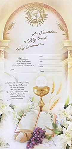 First Communion Chalice Bible Design Boy or Girl Unisex Invitations 8 Count ()