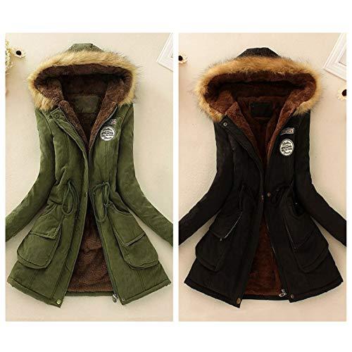 Lungo Con Parka Cardigan Da Cappuccio Jacket Invernale Pelliccia In Cappotto Elegante Nero Trench Outwear Donna Elecenty wxqX1vUF