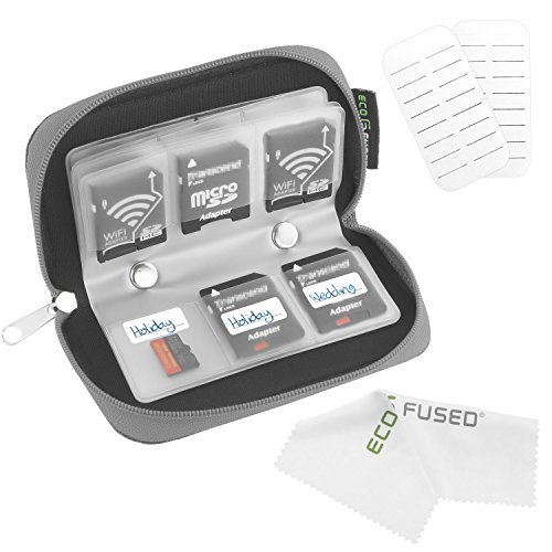 Eco-Fused 8 Pages and 22 Slots Memory Card Carrying Case with Microfiber Cleaning Cloth - Grey