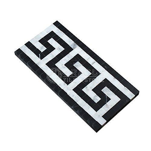 Greek Key Molding - Carrara White Italian (Bianco Carrara) Marble Greek Key Border (with Black Marble, Honed)