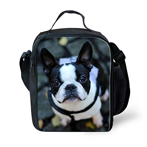 Instantarts Kawaii Lunch Bag Kids Boston Terrier Breed Standard Lunchbox Boys Travel Picnic (Boston Terrier Breed Standard)