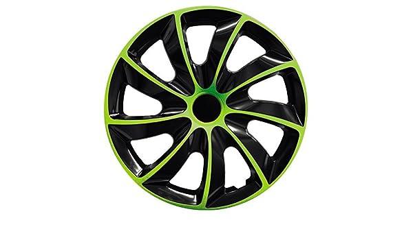 C&D - Tapacubos (15 pulgadas, color verde y negro, 4 unidades): Amazon.es: Coche y moto